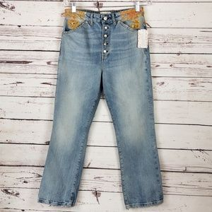 Free People We The Free Jeans 29 Blue Embellished